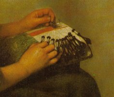 Detail for the Lacemaker by Caspar Netscher, 1664