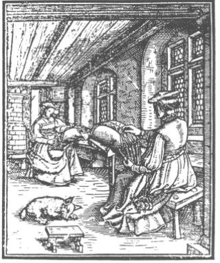 Picture of the lacemakers from the Nuw Modelbuch, 1561