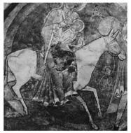 picture of Mary on donkey back using two stirrups aside
