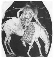 Ancient Greek woman riding aside
